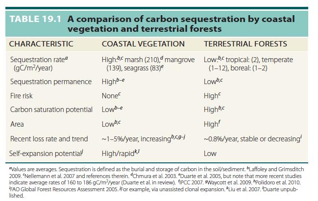 Blue carbon table